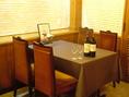 2~8名様までお座りいただけるテーブルをご用意。ダイニングレストランのような雰囲気は宴会はもちろんご家族でも立ち寄りやすい♪