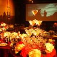 2次会にピッタリの150インチ大型スクリーン、マイクも完備で各種宴会にオススメ!