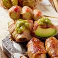 野菜を豚肉で巻き炭火で焼く事により豚肉の油が野菜に染みわたるさっぱりジューシーな一品です♪