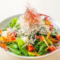 料理メニュー写真釜揚げしらす・海藻・水菜の和風サラダ