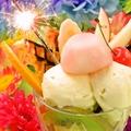 料理メニュー写真サプライズにホールケーキやBigパフェなどご要望にお応えします♪