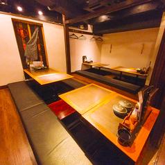 和の料理が似合うたモダンな掘りごたつ式の個室は最大20名様まで。