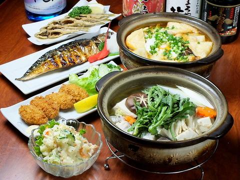 旬の野菜や鮮魚をふんだんに使った自慢のコースは2000円~、飲放付は3500円~でご用意