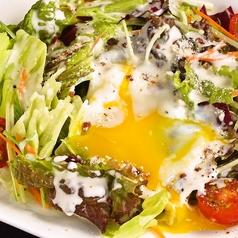 料理メニュー写真温泉卵のせシーザーサラダ