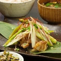 料理メニュー写真アスパラとミョウガの豚味噌炒め定食(六穀米・赤だし味噌汁・小鉢)