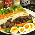 【虹サラダ】卵、牛肉、玉ねぎ、にんじん、ピーマンなどなどたっぷり具材のサラダ♪◇1200円(税抜)