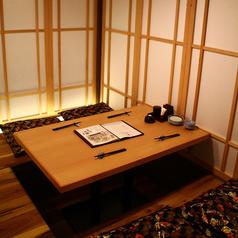 落ち着いた雰囲気の掘りごたつ個室。飲み会や接待などにもお使いいただけます。