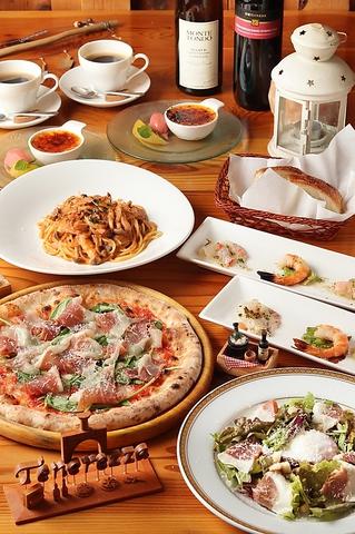 《ディナー限定》ピッツァとパスタが食べられるお手頃価格コース【ピッツァパスタコース】3200円