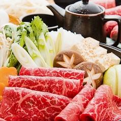 【厳選牛すき焼き 2600円(約2名様)税込】牛ロース100%のこくのあるすき焼き。