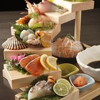 【暖厨特選】本日の鮮魚刺身 階段盛合せ1580円(税別)