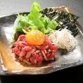 料理メニュー写真道産牛肉のタタキ~ユッケ風