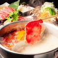 2色スープが楽しめる!大好評しゃぶしゃぶ食べ飲み放題を⇒2980円(税込)からご用意!