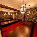 【団体向け個室】 新年会、忘年会、歓迎会、送別会などの大人数の宴会でも個室のご案内が可能です。個室は最大45名様までご利用可能。フロアの貸切の場合は80名様まで対応できます。お気軽にご相談ください。