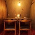 壁から天井まで半円形となっており、ワイン倉庫のような趣ある空間となっています。デートや記念日などにもおすすめです。