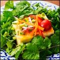 料理メニュー写真パクチー豆腐サラダ仕立て