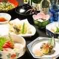 【楓コース】全7品 3800円本日の刺身3点盛り合わせ。天ぷら盛り合わせが付いたお得コース☆