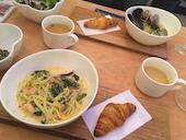 モンサンミッシェル Moon Sun Meat Shellのたくさんの野菜と魚介の塩スープスパゲティーの写真