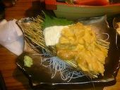 ぼんてん漁港 一番町 芭蕉の辻店の梵天風豚白菜/生うにと生ゆばのお刺身の写真